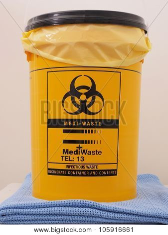 Bio Hazard labeled yellow specialist collection container