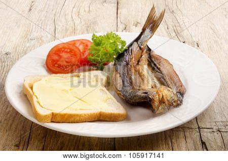 Grilled Kipper On A Plate