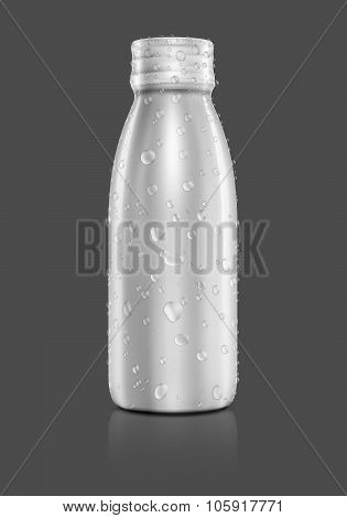 Blank Packaging Beverage Bottle With Water Drops Isolated On Gray Background