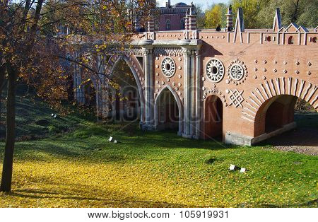 Moscow, Russia - October 21, 2015: Bridge In Tsaritsyno In Autumn Day