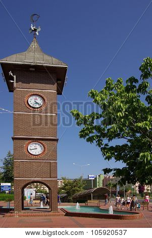 Konakli, Turkey - June 16, 2014: Tower Clock On The Central Square