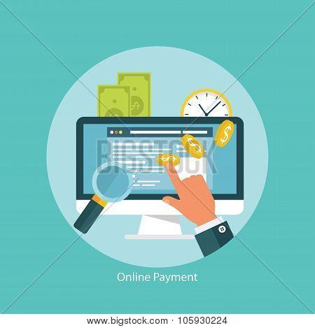 Concept for web banners and promotions. Flat design concept for online transactions