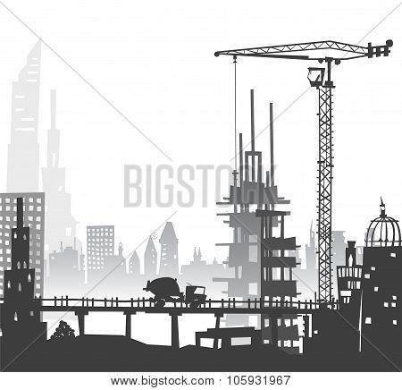 City illustration with cranes and working units on the roads