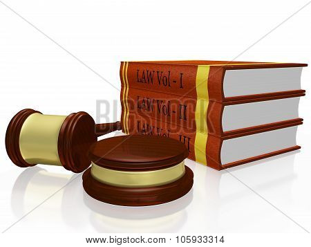 Law Books And Judge Gavel Mallet