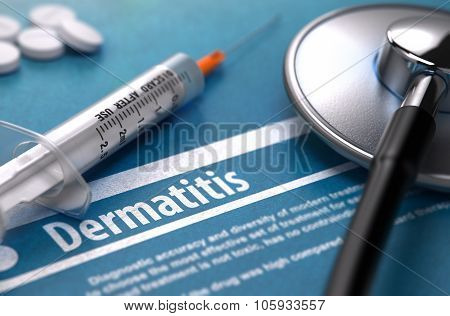 Dermatitis. Medical Concept on Blue Background.