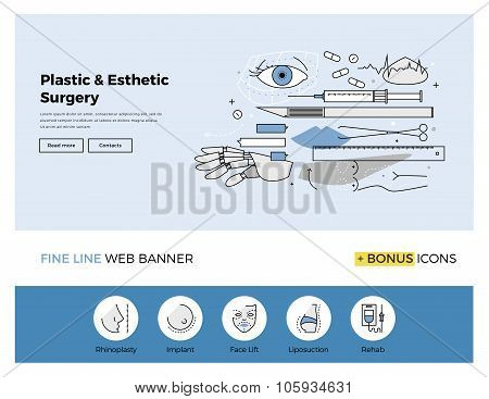 Flat line design of web banner template with outline icons of esthetic plastic surgery decorative body correction and cosmetic operation. Modern vector illustration concept for website or infographics. poster