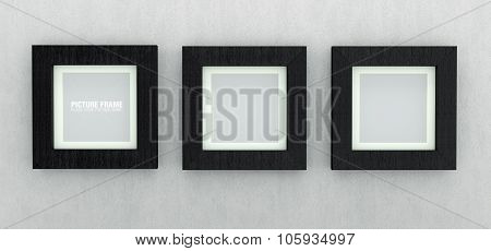 Square black wooden picture frames