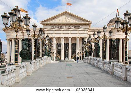 Skopje Macedonia - Marh 20 2014: Macedonian archaeological museum in Skopje the capial of Macedonia