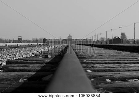 Railway of the Auschwitz-Birkenau Concentration Camp in Poland poster