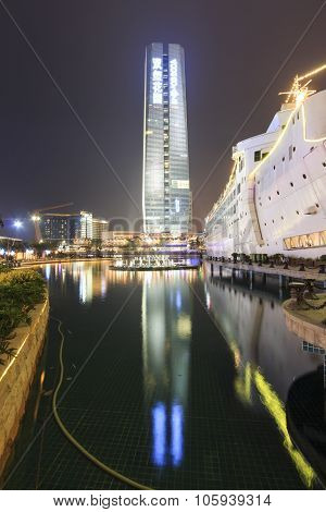 Shenzhen, China - August 22,2015: New Sea World Plaza, One Of The Landmark Of Shenzhen, At Night Wit