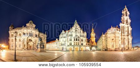 Dresden Panorama At Night, With Hofkirche Cathedral
