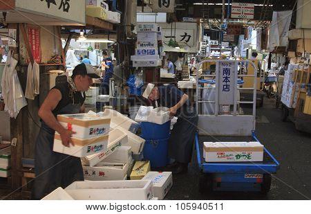 People Working In Tokyo Fishmarket - Tsukiji