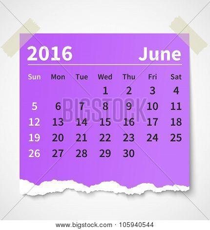 Calendar june 2016 colorful torn paper