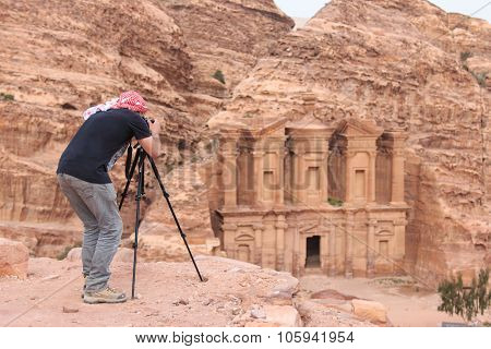 Petra, Jordan - March 26, 2015: Photographer Taking A Picture Of An Ancient Temple In Petra, Jordan