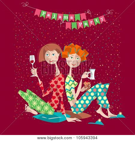 Two Girls In A Slumber Party. Pajama Party.