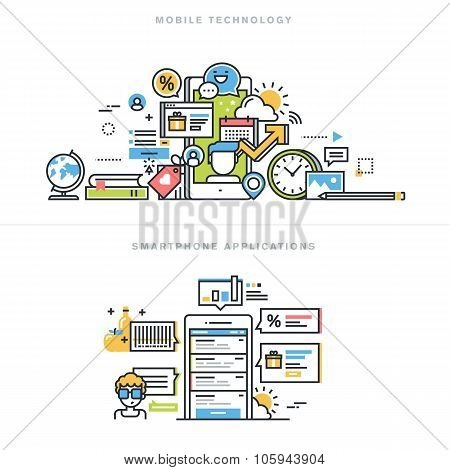 Flat line design vector illustration concepts for mobile apps and services