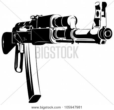 Vector illustration black and white machine gun
