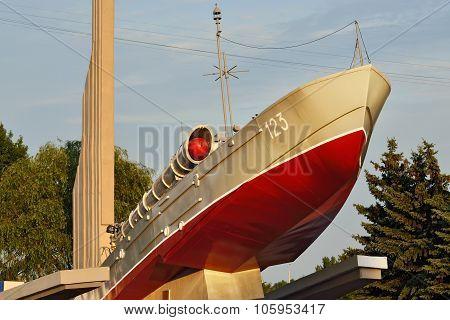 KALININGRAD, RUSSIA - AUGUST 30, 2015:Torpedo Boat, Monument To Baltic Seamen