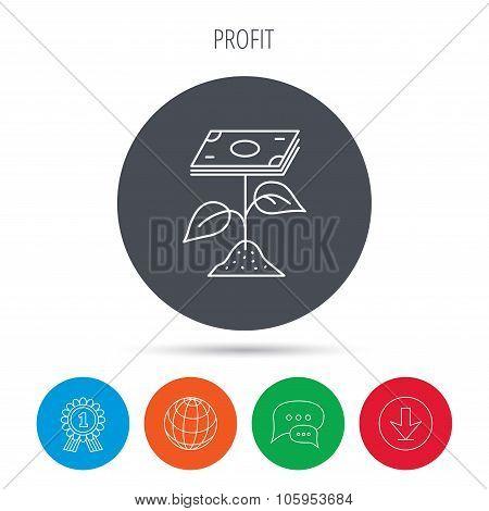 Profit icon. Money savings sign.