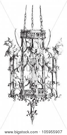 National Museum of Munich, Iron chandelier of the fifteenth century, vintage engraved illustration. Magasin Pittoresque 1878.