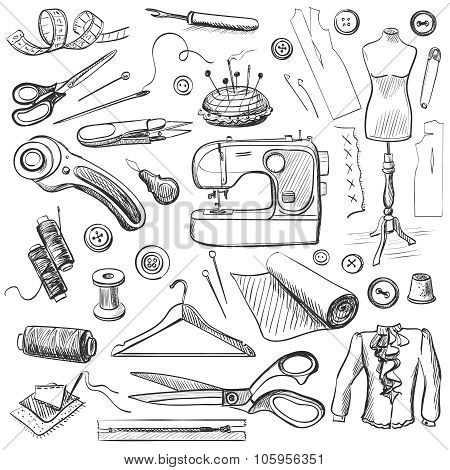 Hand drawn sewing icons set