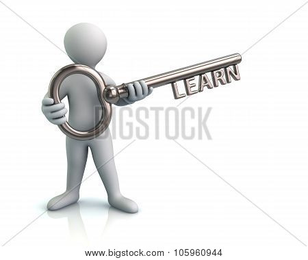 3d illustration of man and silver key with word learn