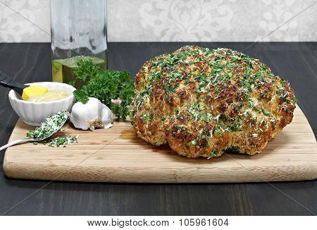Whole Head Of Roasted Cauliflower.