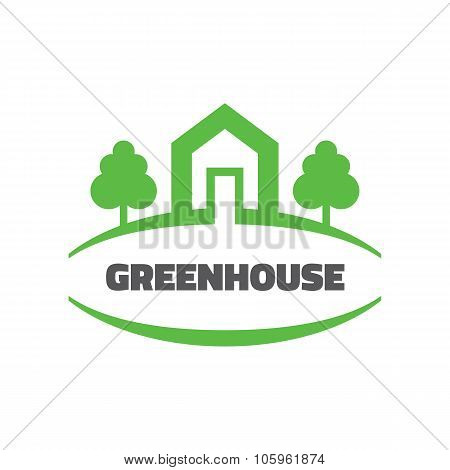 Green house - vector logo concept illustration. Home building logo. Ecology logo. Nature logo.