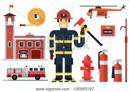 Firefighting Character And Fire Equipment.