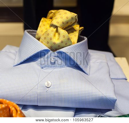 Close up of elegant male shirt and necktie poster