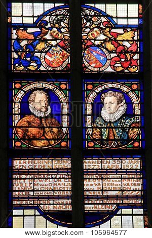 Stained Glass Of William I, Prince Of Orange And Charlotte Of Bourbon