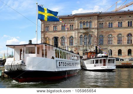 STOCKHOLM, SWEDEN - May 20, 2015: Ferryboats on the berth at Slussen stop in Stockholm