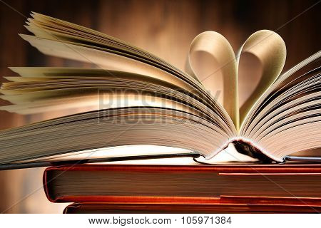 Hardcover Book With Two Pages Formed In The Shape Of Heart