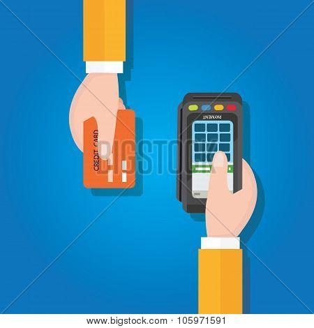 pay merchant hands credit card flat vector illustration payment edc electronic data capture transact