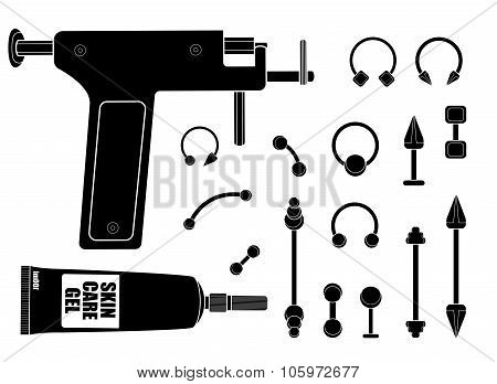 Set of professional body piercing instruments. Black