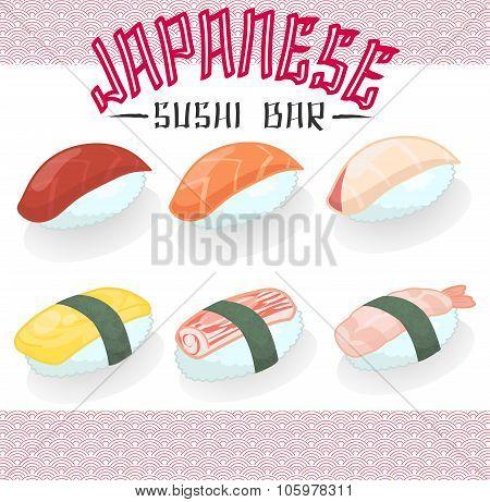 Japanese Cuisine Food Sushi Salmon Tuna Bass Hamachi Sweet Egg Prawn Imitation Crabmeat Stick Icon C