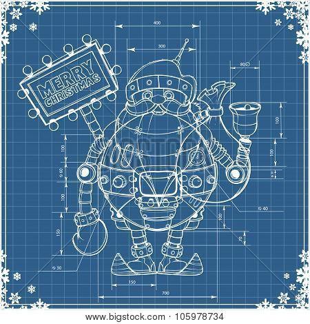 Engineering drawing robot santa on blue paper