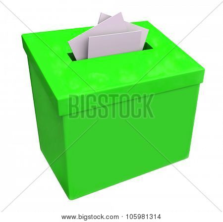 Green suggestion box isolated for collecting ideas, comments and feedback