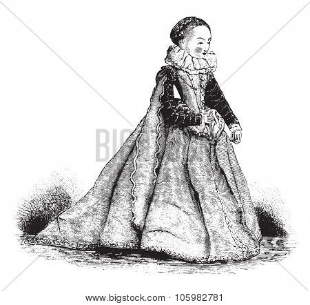 Doll of the sixteenth century, vintage engraved illustration. Magasin Pittoresque (1882).