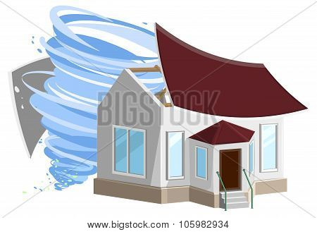 Hurricane destroyed roof of house. Property insurance.