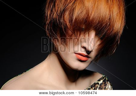 Beautiful Red Heaired Woman Portrait With Fashion Hairstyle From Salon