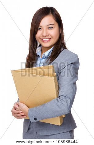 Aisan Young Businesswoman hold with folder