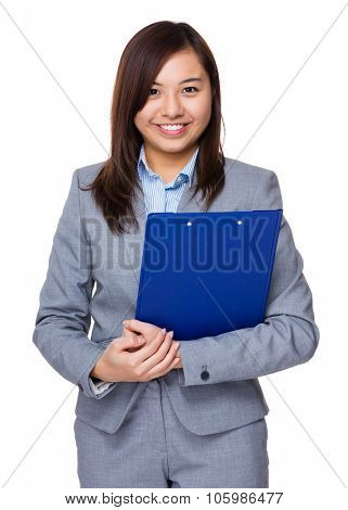 Aisan Businesswoman hold with clipboard