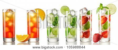Cocktail set isolated on white