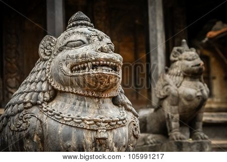 Mystical sculptures on the Durbar square in Kathmandu, the captial city of Nepal poster