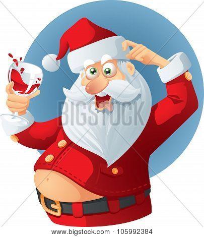 Drunk Santa Claus Vector Cartoon