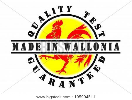 Quality test guaranteed stamp with a national flag inside Wallonia poster