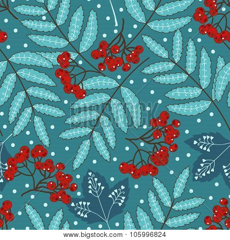 Stock vector seamless pattern with stylized leaves and clusters of berries in a blue and red.