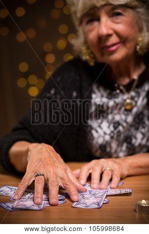 Female Seer Using Tarot Cards