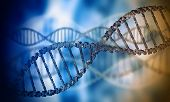 Biochemistry background concept with high tech dna molecule poster